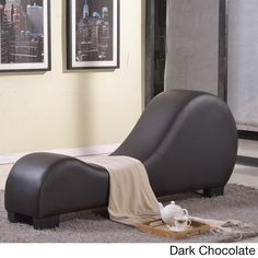 US Pride Furniture Faux Leather Yoga Chair Stretch Chaise Relax (Dark Chocolate Faux Leather Yoga Chair), Brown (Fabric)