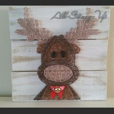 Rudolph reindeer christmas String Art, Made by hand with… Noel Christmas, Christmas Projects, Holiday Crafts, Holiday Fun, Reindeer Christmas, Christmas Signs, Nail String Art, String Crafts, Resin Crafts