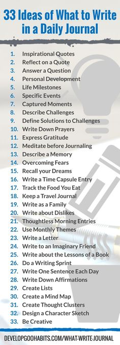 Journaling is a great daily habit. It helps focus the mind and get rid of things that bother you. It can be used for mindfulness, achieving your goals, emotional intelligence, boosting your IQ, memory and comprehension, self discipline, building communication skills, healing emotional wounds, sparking creativity, building writing skills and increasing confidence. find out more about these 33 ideas for daily journal writing by following this link: www.pinterest.com...