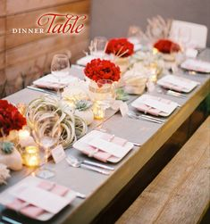 This would be a beautiful table setting for a holiday party. The red really pops next to the neutral tones.