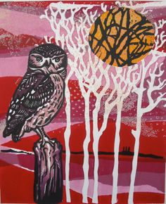 Solstice Sunset, woodcut & screen print By Sophie Fordham