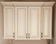 This Vanilla Cr Me Paint With A Van Dyke Brown Glaze Cabinet Is Perfect For Kitchens Where