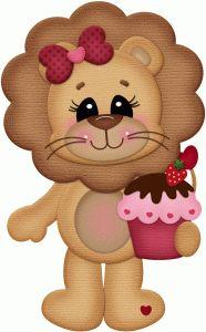 Silhouette Design Store - View Design #74188: girl lion w cupcake