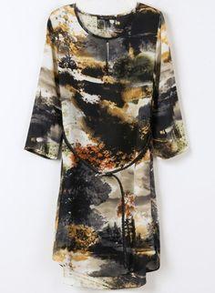 Vestido gasa paisaje-Blanco y negro EUR€23.22