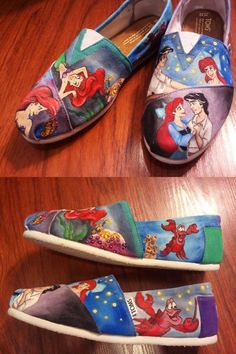 hand painted disney little mermaid TOMS. oh my gosh, i love the little mermaid Crazy Shoes, Me Too Shoes, Dream Shoes, Little Mermaid Shoes, Just In Case, Just For You, Toms Shoes Outlet, Donia, Vogue