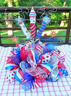 PATRIOTIC CENTERPIECE with FIREWORKS by decoglitz on Etsy