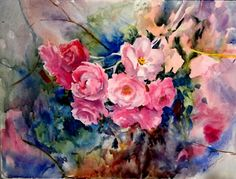 Wet Roses, original watercolor painting