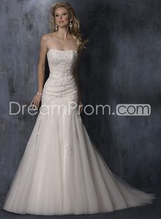 Sexy Trumpet/Mermaid Embroidery Strapless Sweep Train Wedding Dresses