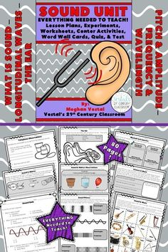 Sound Lesson Plans include lesson plans, hands-on activities and experiments, worksheets, and video links. #vestals21stcenturyclassroom #sound #teachingsound #soundlessonplans #4thgradescience #5thgradescience