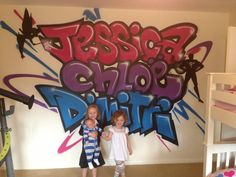 children / teen / Kids Bedroom Graffiti mural - #handpainted #graffiti #featurewall #design #graffitibedroom #interior #design #cute