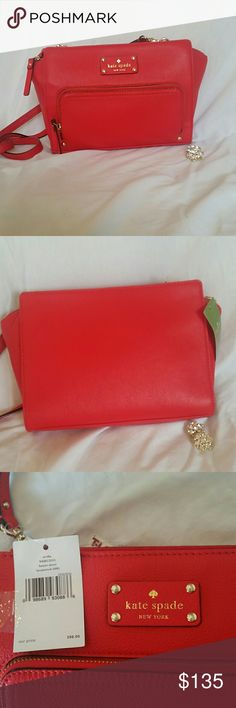 NWT Kate Spade Sevilla Braxton Street There's no better way to add a pop of color to an everyday outfit than with this flawless handbag! The color is called Laquer Red and it would be an awesome addition to your holiday wardrobe! Can be worn cross body.  Details: ? Soft Pebbled Leather ? Signature Logo Leather Patch on the Front ? Light Gold Plated Hardware ? Zip Top Closure ? Front Zip Pocket  ? Interior Zip Pocket ? One Interior Slip Pocket ? Signature Sew Be it Fabric Lining ? Detachable…