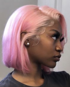 Lace Front Wigs, Lace Wigs, Curly Hair Styles, Natural Hair Styles, Pelo Afro, Pink Wig, Aqua Hair, Wigs With Bangs, Baddie Hairstyles