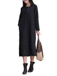 Only US$38.29 , shop Vintage Women Solid Button Jacquard Patchwork Split Cotton Linen Dress at Banggood.com. Buy fashion Vintage Dresses online.