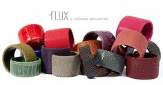 Gorgeous colourful Python leather bangles from $320   Courtesy of A Cuckoo Moment.
