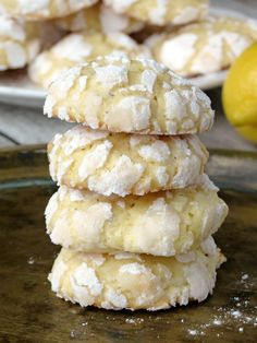 Cardamom Flavored White Chocolate Lemon Crinkle Cookies | @yummyaddiction