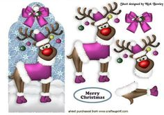 - Rudy on a tag in blue with bow, can be seen in other colours in a bumper kit Christmas Decoupage, 3d Christmas, Christmas Clipart, Christmas Animals, Merry Christmas And Happy New Year, Christmas Images, Christmas Printables, Christmas Ornaments, Free Printable Cards