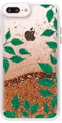 Casetify iPhone 7 Classic Grip Case - dark green leaves - clear case by Carla Zancanaro  #Casetify #glittercase #leaf #botanic #glitter #festival