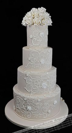 Lace wedding cake by Design Cakes, via Flickr