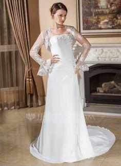 A-Line/Princess Strapless Court Train Chiffon Wedding Dress With Ruffle Lace Beading (002012876)