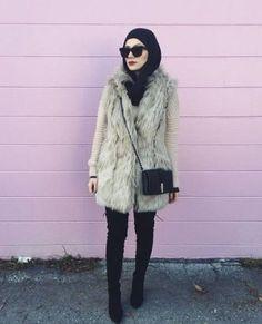 fur-vest-with-black-hijab