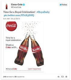 How are brands celebrating the Royal Baby news - coca cola
