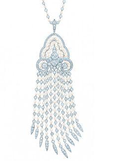 Tiffany seed pearl and diamond tassel pendant in platinum b