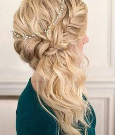 20 Hochzeitsfrisuren für langes Haar, Hochzeit Frisuren für lange Haare, Hochzeit Frisuren Elegant Wedding Hair, Wedding Hair Down, Wedding Hair And Makeup, Wedding Updo, Hair Makeup, Trendy Wedding, Side Braid Wedding, Hairdo For Wedding Guest, Hair Updos For Weddings Guest