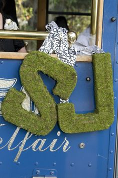 moss covered monogram letters