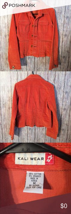 Kali wear corduroy jacket size Medium Love this jacket! It was my moms! Sometimes I think she has better fashion sense than me haha! Excellent condition! She didn't wear more than twice she said :) May bundle with two or more additional items from this closet for 15% off! No holds or trades pls! Kali Wear Jackets & Coats