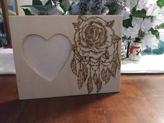 Rose Dreamcatcher Rustic Engraved Wood Heart Picture Photo Frame