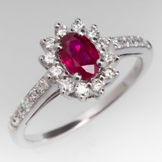 Ruby Engagement Ring w/ Diamond Halo in White Gold