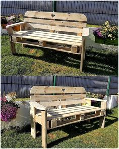 pallets garden bench idea