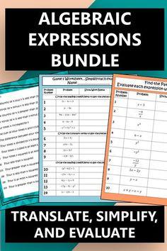 Algebraic Expressions: Translating, Simplifying, and Evaluating Bundle Algebraic Properties, Fun Math, Math Games, 5th Grade Activities, Logic Problems, Combining Like Terms, Algebraic Expressions, Distributive Property, Solving Equations