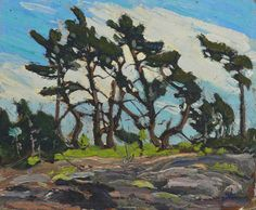 """""""Pine Island,"""" Tom Thomson, oil on paperboard, x McMichael Canadian Art Collection. Group Of Seven Art, Group Of Seven Paintings, Contemporary Landscape, Landscape Art, Landscape Paintings, Tree Paintings, Impressionist Paintings, Emily Carr, Canadian Painters"""