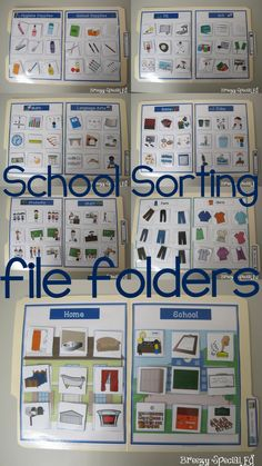 Simple sorting and matching file folders based on a school theme. Great for working on school vocabulary and recognition! Special Education Jobs, Preschool Special Education, Early Education, Autism Education, Pre Reading Activities, Toddler Learning Activities, Sorting Activities, Student Games, Life Skills Classroom