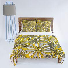 Madart Inc. Swirly Flower Gray And Yellow Duvet Cover