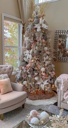 Feminine Christmas Tree Designed by Farah Jmerhi Rose Gold Christmas Tree, Elegant Christmas Trees, Christmas Tree Design, Christmas Tree Themes, Christmas Colors, Beautiful Christmas, Christmas Home, White Christmas, Christmas Mantles