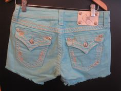 Aqua Miss Me shorts!  Oh YEAH! i <3 miss me!!! Boots + miss me shorts and jeans= my favorite!