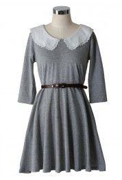 Peter Pan Double Collar Dress in Grey