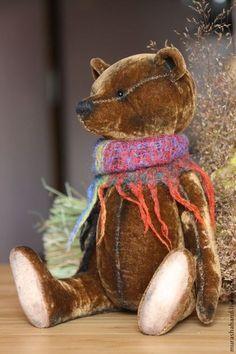 Корирчневый шелковый (29см) (мишки тедди) - японский шелк-бархат,любимый