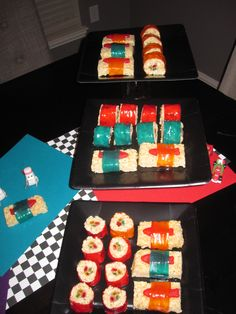 Cars 2 themed Bday party for my son Aven... rice krispies, fruit roll up, sour straws, and sweedish fish