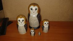 Set of 5pc hand painted wooden russian matryoshka nesting dolls BARN OWLS by Matreshkas on Etsy