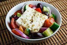 Greek Salad (Horiatiki Salata) Recipe : A Greek salad with tomatoes, cucumber, onion, olives, feta and Greek dressing. Greek Recipes, Wine Recipes, Cooking Recipes, Gf Recipes, Healthy Salads, Healthy Eating, Healthy Recipes, Wine, Health