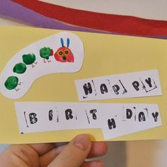 Why should fingers have all the fun? This 'The Very Hungry Caterpillar' birthday card uses toe prints to create the caterpillar. With just a little help, even the youngest of children can produce this great looking birthday card. 1st Birthday Cards, Happy Birthday Messages, Farm Birthday, Birthday Banners, Birthday Invitations, Construction Birthday Parties, Construction Party, Loom Flowers, Watercolor Birthday Cards
