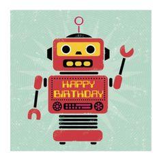 """Livre d'éveil Carte d'Anniversaire """"Robot"""" Carte d'Anniversaire """"Robot"""""""
