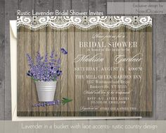 Rustic Bridal Shower Invitations - Rustic Bucket with Lavender Florals | Farm, Country, Outdoor Spring or Summer Bridal Shower  Lace