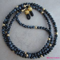 Black Gray Snowflake Obsidian Gold Eyeglass by missvalscreations,
