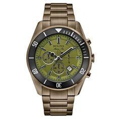 d2f4f462b1e Bulova 98B206 Men s Marine Star Green Dial Grey Steel Bracelet Chronograph  Watch Relógios Bulova