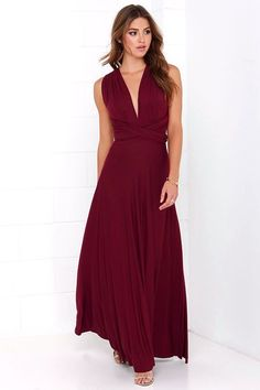 LULUS Exclusive Tricks of the Trade Burgundy Maxi Dress 1