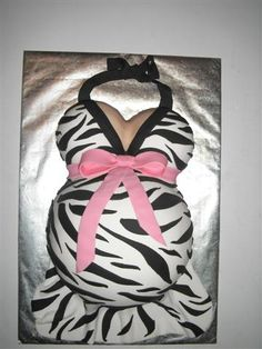Zebra Pregnant Belly Cake